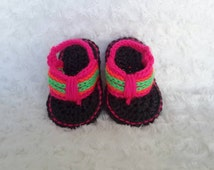 Crocheted baby flip flops, neon pink, coral and green crocheted flip flops, baby sandals, baby shoes, handmade baby sandals