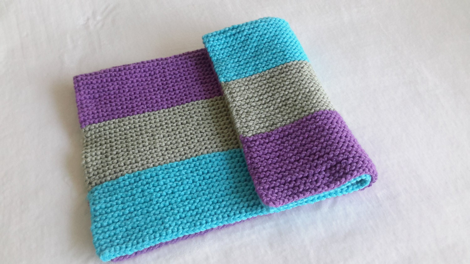 Baby blanket travel blanket knit purple green and blue