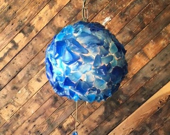 Blue Resin Swag Lamp