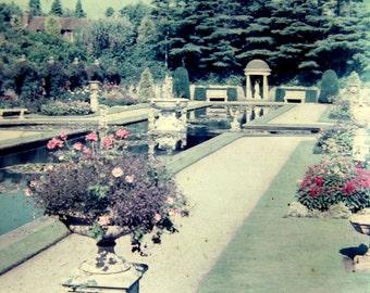 Vintage Glass Magic Lantern Slide, English Garden, 1940s