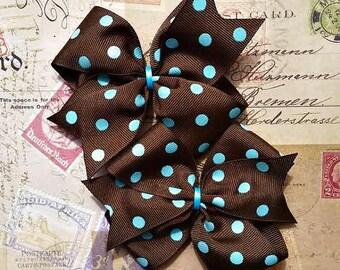 Brown with Turquoise Polka Dots Pinwheel Hair Bows