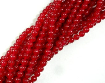 Red Jade Beads, Round, 4mm(4.5mm), 15 Inch, Full strand, Approx 90 beads, Hole 0.8mm (211054129)