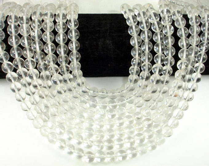 Clear Quartz  Beads, 8mm(8.6mm)  Round Beads, 15.5 Inch, Full strand, Approx 47 beads beads, Hole 1 mm (198054017)