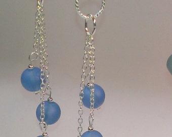 Sea Glass Earrings, Sterling Silver Earrings, Blue Earrings