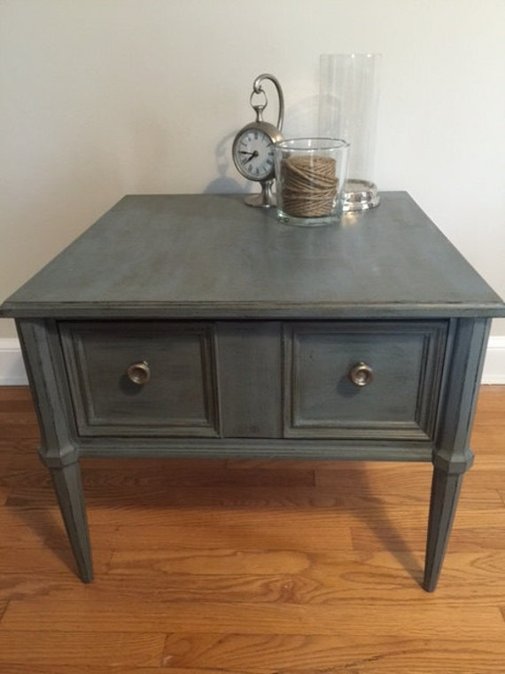 Distressed Wedgewood Blue End Table Distressed End Table