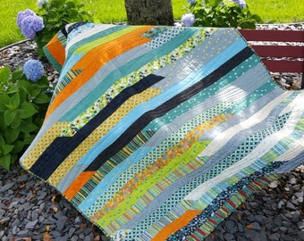 Modern Quilt, Throw Quilt, Strip pieced Quilt, Lap Quilt, Home Decor, Patchwork, Cotton quilt, One of a Kind, Unique Gift, Christmas Gifts