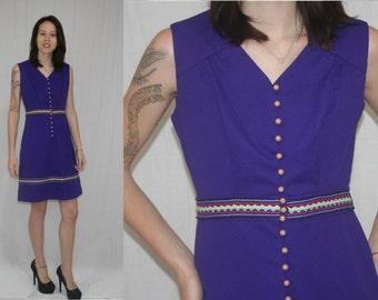 Vintage 60s 70s MOD Purple Ric Rack Trim Scooter Boho Day Dress S M