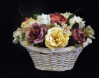 Victorian Rose Centerpiece Basket.Rose Centerpiece.Vintage Style.Table Centerpiece.