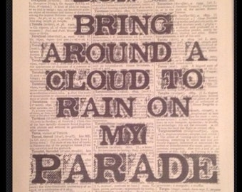 Dont rain on my parade lyrics Print Picture Dictionary Wall art Barbara Streisand