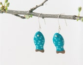 Blue earrings with fishes, fish earrings, horoscope jewelry, blue jewelry, ceramic earrings, natural jewelry, clay jewelry, gift for woman