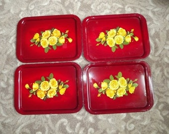 Lot of 4 Beautiful Red Metal Trays with Yellow Roses