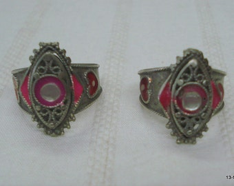 vintage antique ethnic tribal old silver toe ring pair belly dance jewelry