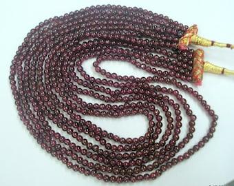 vintage garnet gemstone beads necklace strand choker 6 line india