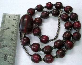vintage bakelite & silver beads necklace from rajasthan india