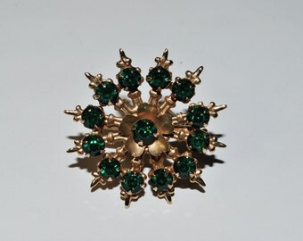 Emerald Green Rhinestone Flower Wheel Pin