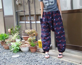 Kimono remake pants chrysanthemum