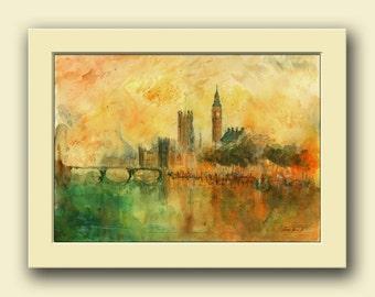 London city - thames big ben parliament London decor- England river original art wall - cityscape - Original watercolor painting- Juan Bosco