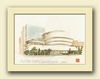Guggenheim museum New York - Frank Lloyd Wright architect - architectural building drawing art wall-Original watercolor painting- Juan Bosco