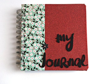 Red Glitter and Flowers Journal