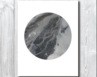 Grey Moon/Planet Art Print A5, 20x25, A3