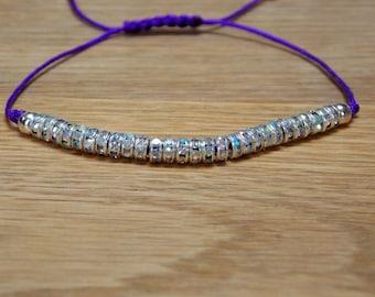 Purple and Rhinestone crystal AB Friendship Bracelet - Dainty - Sparkly