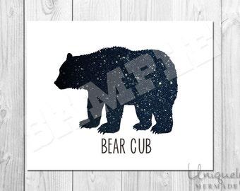 Bear Cub Print - Nursery Art- Baby shower gift- Baby- Toddler- Nursery Decor- Room Decor- Printable Art- Download