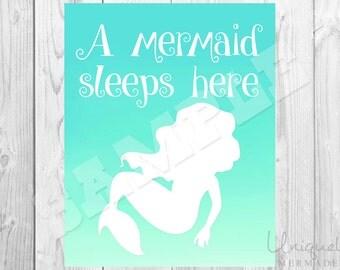 A Mermaid Lives Here Print - Nursery Art- Baby shower gift- Baby- Toddler- Nursery Decor- Room Decor- Printable Art- Download