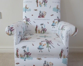 Ashley Wilde Golden Ticket Fabric Kids Chair Child Armchair Willy Wonka Charlie & The Chocolate Factory Roald Dahl Nursery Playroom Bedroom