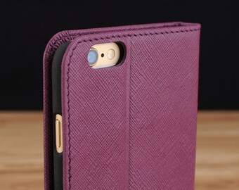 Purple Saffiano Leather Side Flip Wallet Phone Case for Apple iPhone 6 / 6s