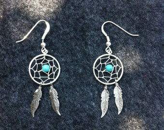 Dream catcher earrings 925 sterling silver