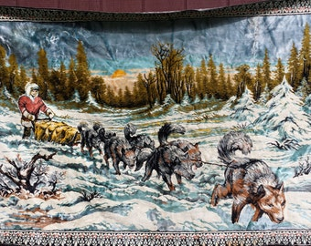 Beautiful Vintage Dog Sledding Tapestry