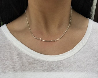 Silver Bar Necklace on sterling silver filled chain