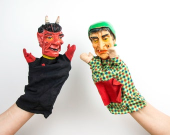 Two vintage hand puppets - retro hand puppet - theatre - fantasy play - story 1960s