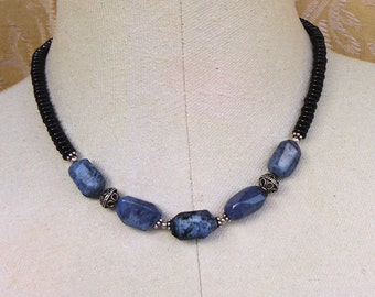 necklace with sodalite and black onyx