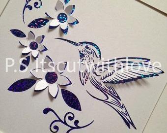 Pop up Hummingbird with flowers - PDF - SVG file