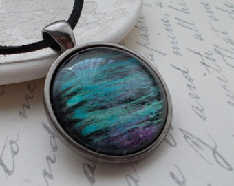 Hand Painted Pendant Necklace Blues Greens Purples Casual Necklace 25mm Round Pendant Blue Necklace Green Pendant Northern Nights