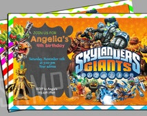 Skylanders Giant Chalkboard  Birthday Invitation