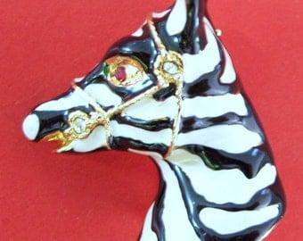Fabulous Vintage Hand Enamelled Diamente Shaped Zebra Brooch