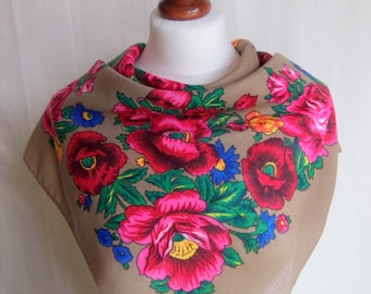Beige Russian scarf,shawl with red roses and flowers, winter accessory