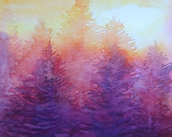 Watercolour painting of a pine forest