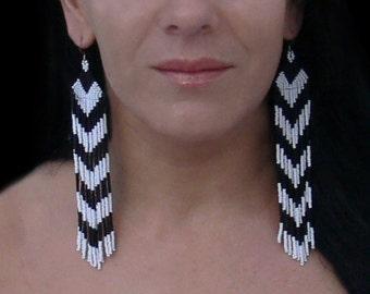 Chevron Earrings. Very Long Earrings. Dangle Black and White Earrings. Shoulder Duster earrings. Beadwork