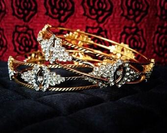 CZ & Gold Bangles, Pair