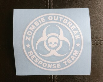 Zombie Outbreak Response Team with Skull - Vehicle Decal - Car Window Decal - Permanent Vinyl Decal - Zombie Decal - Zombie Car Sticker