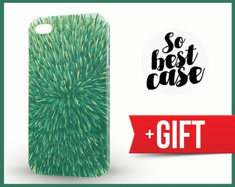 iPhone 4 case, iPhone 4S case, funny phone case, Grass Ball, green iphone case, iphone cover, Cover with grass, artistic iphone case