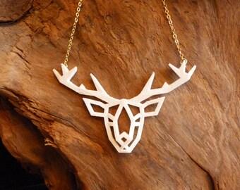 Printed 3D Origami deer necklace