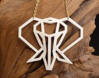 Printed 3D Origami Elephant necklace