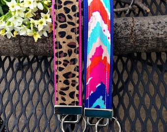 Key Fob Wristlet - Cheetah & Multicolor Chevron