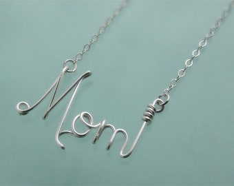 Mom Wire Word Pendant Necklace