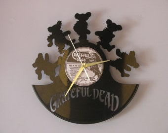 Grateful Dead clock, Grateful Dead art, Gratefu Dead, vinyl record clock, vinyl clock, wall clock, music art