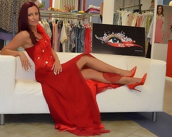 long red chiffon gown with organza and load result stones sewn